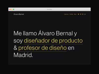 Personal website, portfolio 2020 spain madrid works product design dark ui dark mode responsive squarespace landing page personal web web design web portfolio