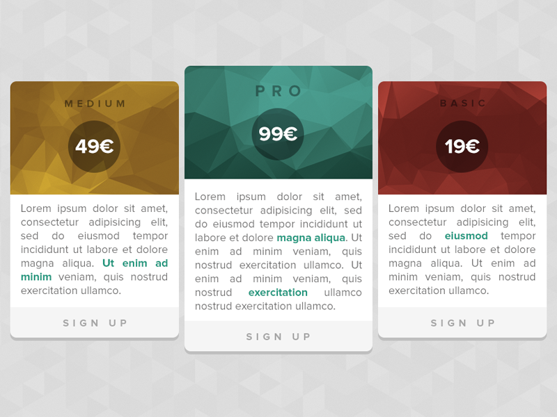 Pricing tables (PSD freebie) rebound psd pricing tables web landing page landing proxima nova triangles flat