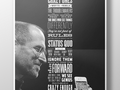 """Steve Jobs, """"Think Different"""" poster (PDF & Illustrator freebie) freebie illustrator print poster digital art apple steve jobs jobs think different retro typography ai"""