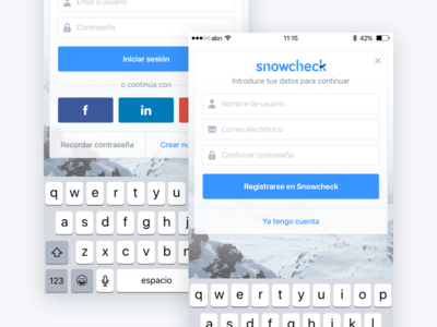 Snowcheck – Login, register and 3D Touch