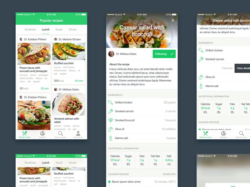 Recipes app - quick concept quick speed kitchen cooking chef restaurant food nutrition ios app recipes concept