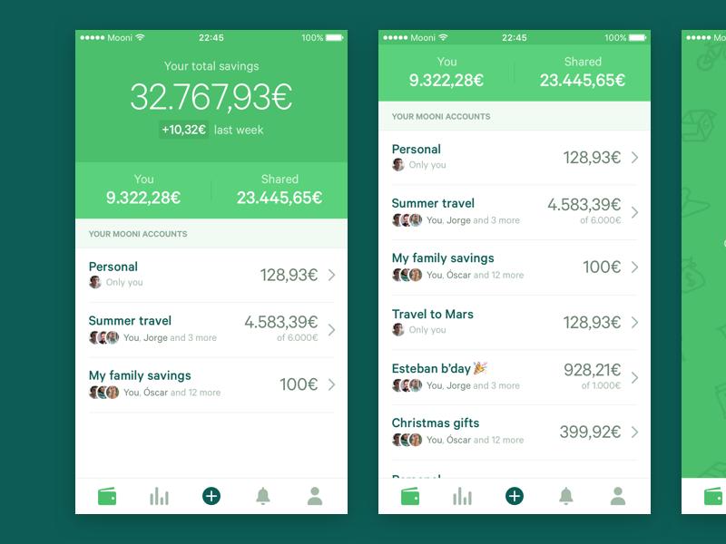 Mooni – Accounts summary bank accounts bank account iphone ios dollars euros money save money savings fintech bank mooni