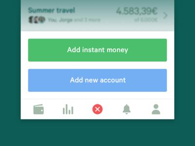 Mooni – Dynamic tab-bar bank accounts bank account iphone ios dollars euros money save money savings fintech bank mooni