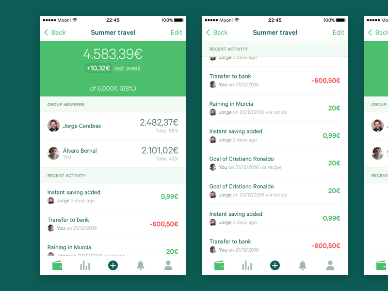 Mooni – Account detail bank accounts bank account iphone ios dollars euros money save money savings fintech bank mooni