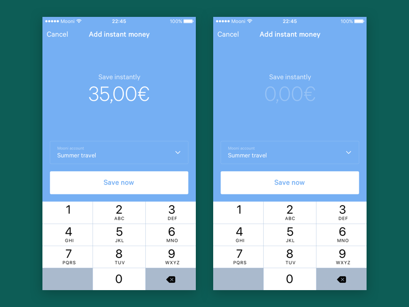 Mooni – Add instant money bank accounts bank account iphone ios dollars euros money save money savings fintech bank mooni