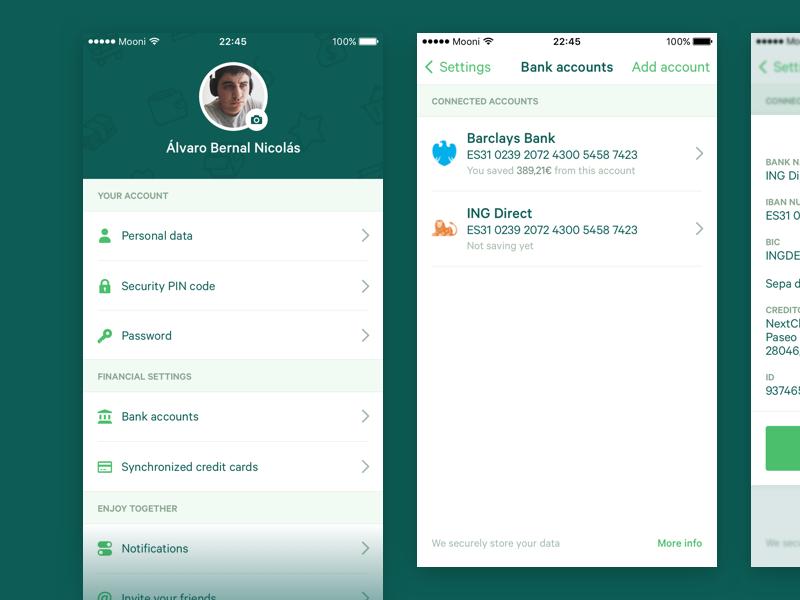 Mooni – Settings bank accounts bank account iphone ios dollars euros money save money savings fintech bank mooni