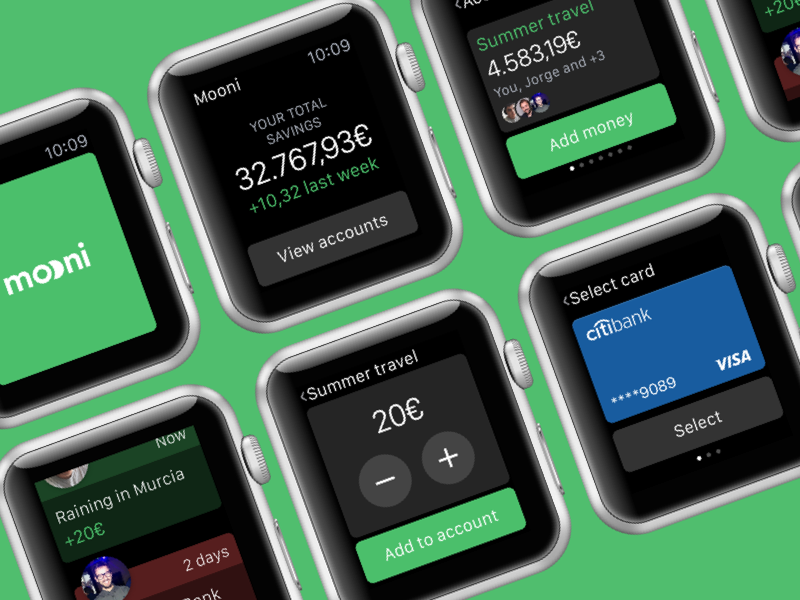 Mooni – Apple Watch integration bank accounts bank account apple watch watch dollars euros money save money savings fintech bank mooni