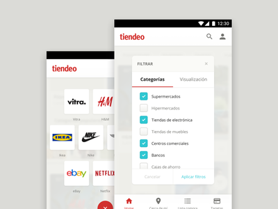 Tiendeo for Android, filters and categories spain retail shop visual guidelines guidelines design system mobile freelance project android styleguide tiendeo