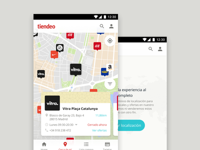 Tiendeo for Android, map and discover spain retail shop visual guidelines guidelines design system mobile freelance project android styleguide tiendeo