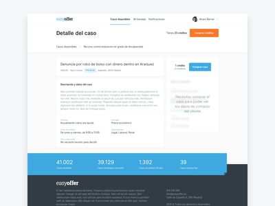 EasyOffer, lead detail header forms button footer app landing page landing detail view detail page detail lawyer lawyers law product design ux ui web design web easyoffer