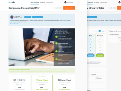 EasyOffer, buy credits summary ticket landing widgets banner coins credits price table button product design ux ui web design web lawyers lawyer laws law easyoffer