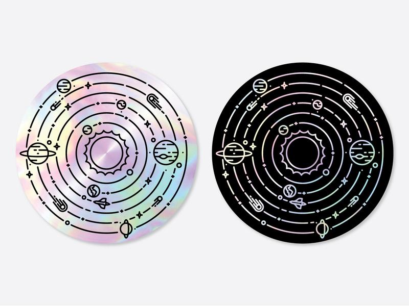 Solar System Sticker illustration icon line badge monoline solar holographic star sun asteroid comet planets space solar system