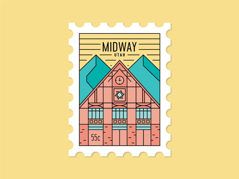 Dosage of Postage No. 1 home flower clock edelweiss switzerland town hall illustration line art mountains swiss utah midway mail stamp post postage stamp postage dosage of postage