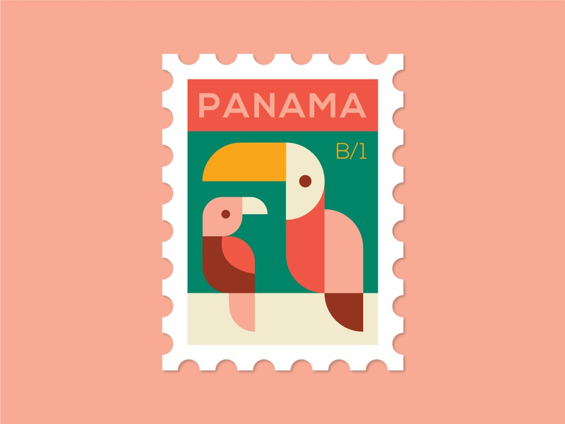 Dosage of Postage No. 4 rainforest tourism dosage of postage mail post stamp birds bird panama parrot toucan illustration monoline