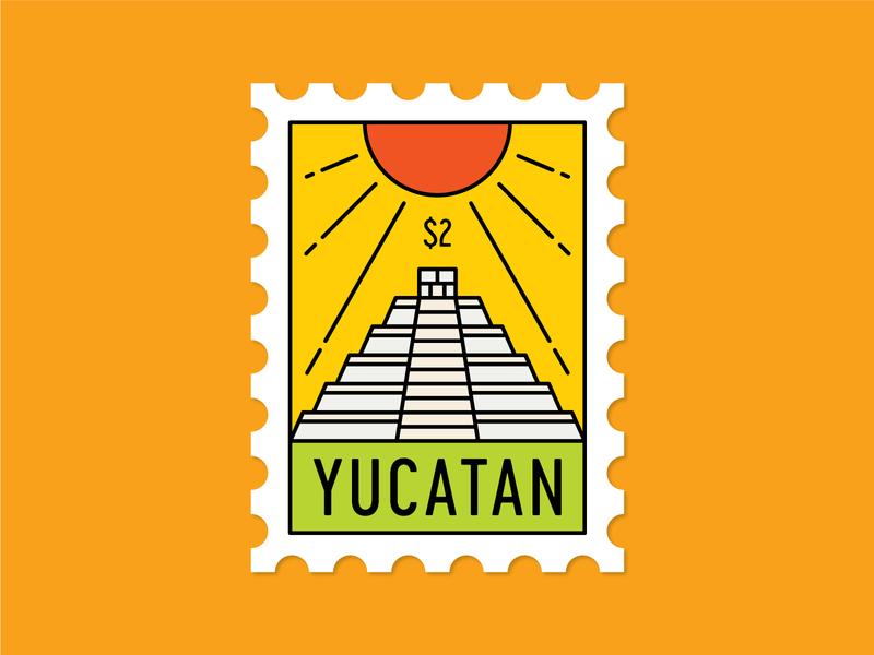 Dosage of Postage No. 5 monoline illustration citrus tropical sun temple pyramid mayan maya chichen itza mexico merida yucatan postage stamp mail post dosage of postage