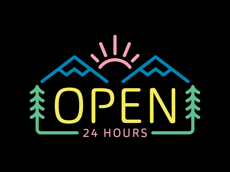 Open 24 Hours earth day line art illustration monoline peak pine tree pine sun mountain sign neon outdoor outside nature 24 hours open