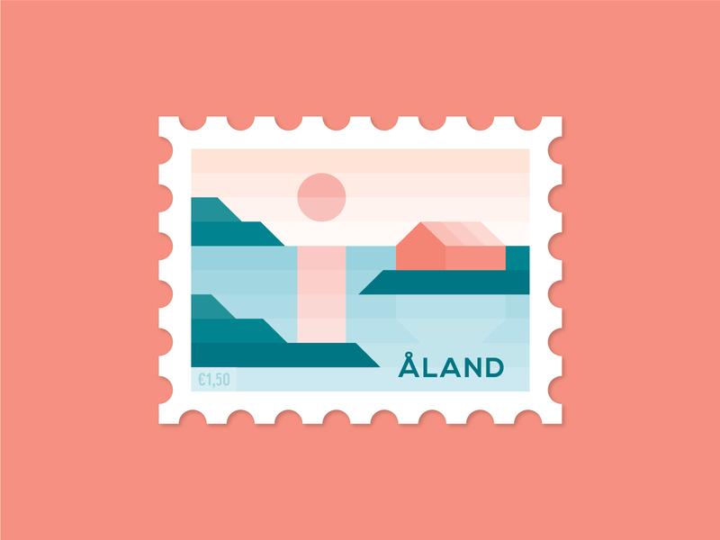 Dosage of Postage No. 6 illustration reflection sun cabin islands ocean sea nordic archipelago stamp design postage post stamp dosage of postage aland