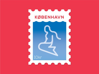 Dosage of Postage No. 7 harbor ocean water postage post stamp the little mermaid mermaild design dansk denmark copenhagen