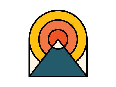 Radiant Badge illustration icon line monoline utah line art patch snow cap sun mountain sticker radiant badge