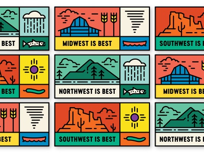 The Best butte sun barn farm prairie plains forest desert best is best midwest northwest southwest illustration line art line pine mountain badge monoline