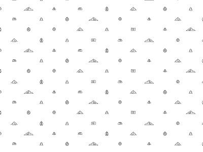 Mountain Icon Pattern utah line art bee cabin camera lantern pine tree pine compass camp tent pattern icon mountain