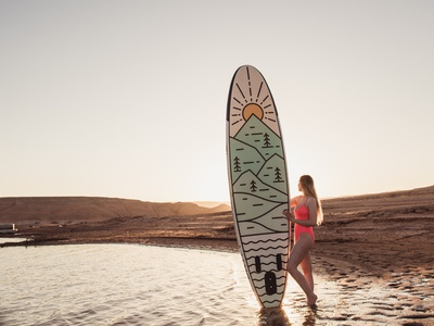 Alpine Paddle Board waves vertical design pine tree pine sun sunset sunrise mountain paddle board sup lakers alpine