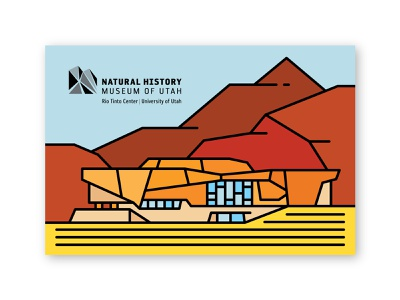 Natural History Museum of Utah Postcard illustration line monoline university of utah salt lake city mountain desert line art minimal architecture utah natural history museum