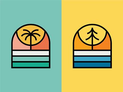 Palm & Pine sticker line art monoline badge coast shore lake alpine desert mountain forest tropical ocean pine tree palm