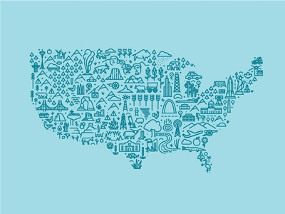 Map of America first shot line art icon design united states illustration debut usa america map