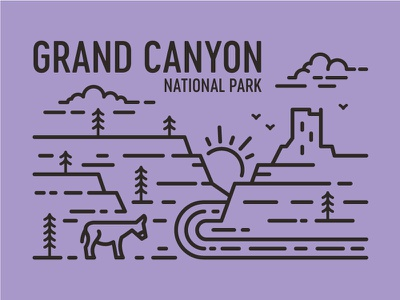 Grand Canyon watch tower line art national park grand canyon tree burro river pine