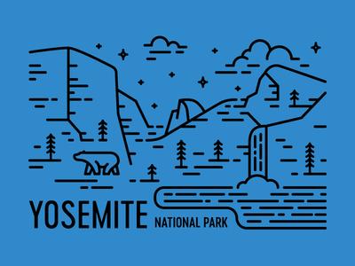 Yosemite el capitan bridal veil falls half dome line art national park postcard pine waterfall california bear yosemite