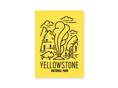 Yellowstone line art water fall old faithful national park tree cloud mountain pine bison yellowstone