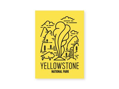 Yellowstone line art water fall old faithful national park tree cloud mountain pine bison yellowstone