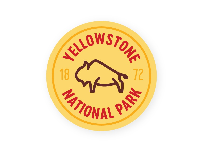 Yellowstone Sticker national park nickel buffalo badge sticker yellowstone bison
