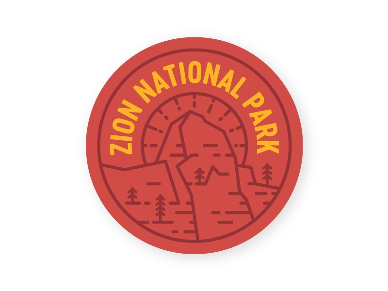 Zion Badge line art great white throne red rock national park pine badge zion