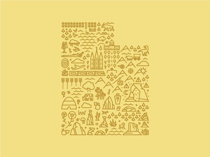 Map of utah yellow