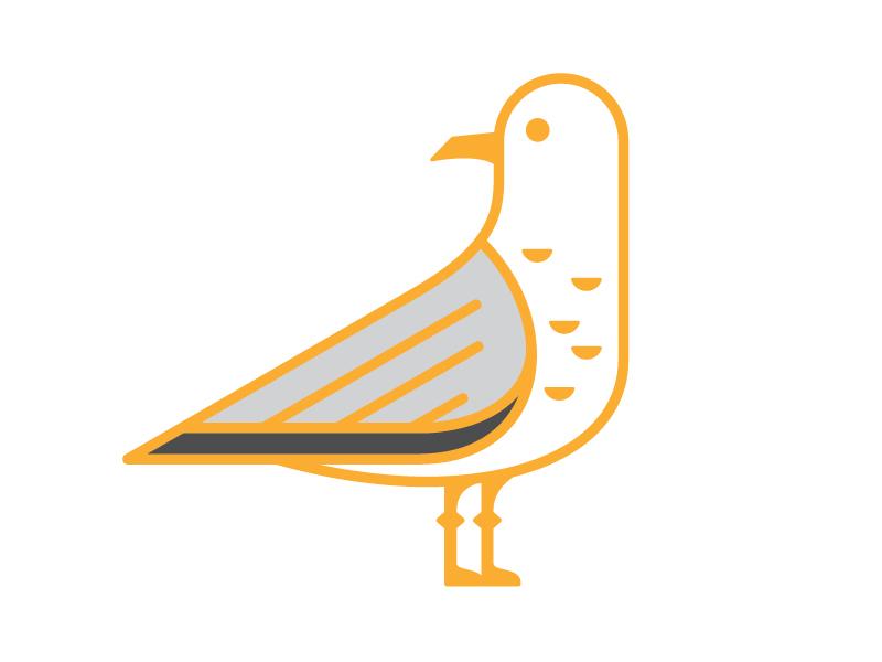 Seagull california seagull line gold feather wing bird utah icon pin seagull
