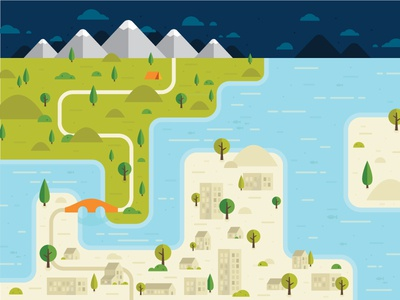 Illustrated Map building camp path country city cloud mountain bridge minimal flat illustration map