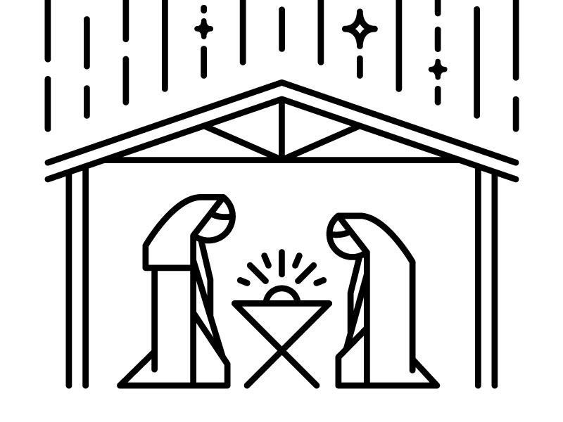 Minimal Nativity line minimal stable star manger joseph mary christmas jesus nativity
