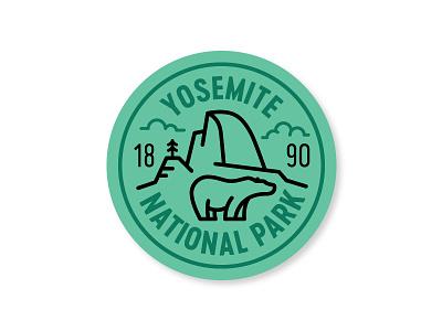 Yosemite Badge half dome national park monoline badge bear pine california yosemite