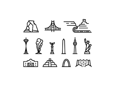 North America united states monoline icon monument landmark delicate arch alamo america north mexico canada usa