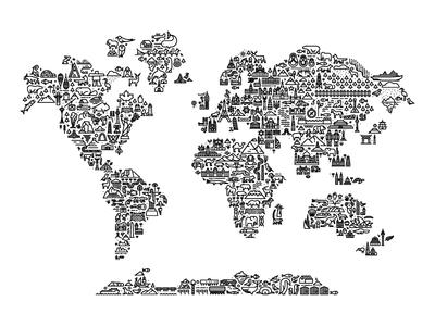 World Map minimal illustration icon monoline map world