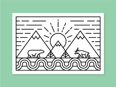 Coloring Page nature line coloring sun tree pine river bear moose mountain coloring book