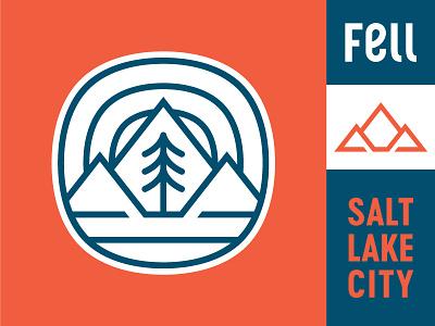Fell Brand Update salt lake city utah mountains badge mountain tree pine squircle logo update brand fell