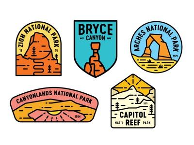 Utah's Mighty 5 national park capitol reef bryce canyon mighty five utah stickers patch canyonlands arches zion badge 5