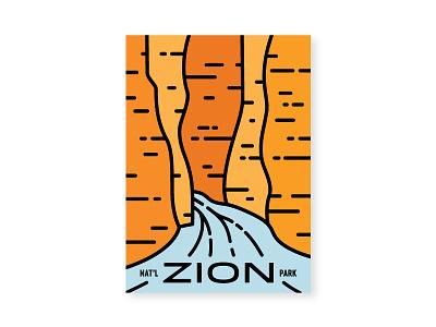Zion Narrows line postcard canyon slot canyon river red rock narrows national park zion