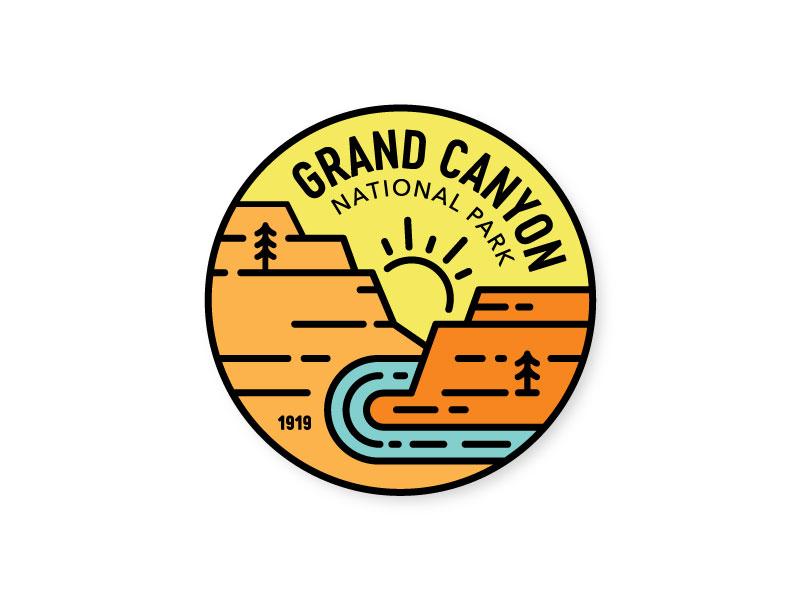 Grand Canyon Badge southwest arizona monoline line circle badge national park grand canyon