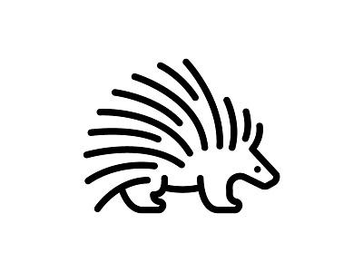 Porcupine monoline line art line icon porcupine