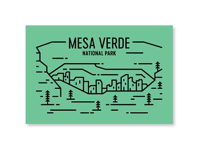 Mesa Verde ancestral pueblo postcard monoline cliff dwelling colorado national park mesa verde