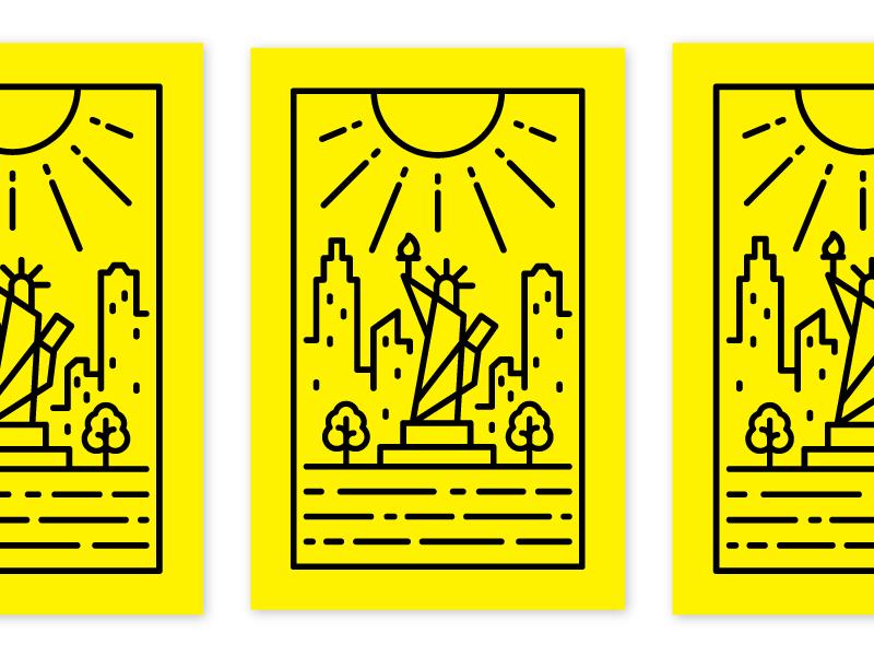 NYC Postcard taxi yellow sun city skyline big apple statue of liberty postcard new york city new york nyc